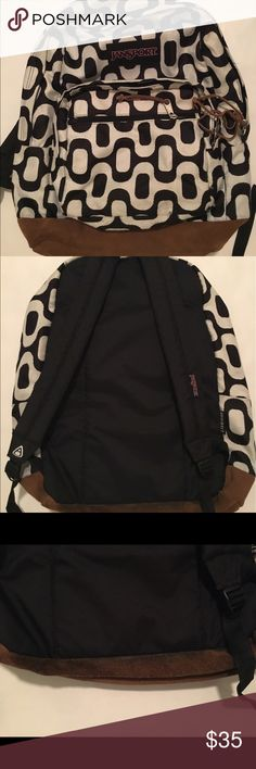 black and white jansport backpack super cute and spacious! this was only used a few times so the only flaw is the slight discoloration on the leather piece shown in picture 3. this backpack also has super cute green lining and a laptop pocket! feel free to ask i'm you have any questions! Jansport Bags Backpacks