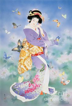 Cho No Mai 1500 Piece Puzzle: This puzzle features a beautiful Japanese geisha surrounded by butterflies. Artwork by Haruyo Morita. Educa puzzles are known Japanese Drawings, Japanese Artwork, Japanese Painting, Japanese Prints, Art Geisha, Geisha Kunst, Art Chinois, Art Asiatique, Bild Tattoos