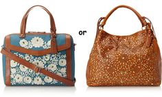"""Isabella Fiore Handbags  Lux Linen Floral Satchel, Blue Bell -- Signature embroidery defines this structured style; 1 exterior pocket, 1 zip and 2 slip interior pockets, optional adjustable strap, 5"""" handle drop  Laser Floral Lattice Weave Carry-All, Brown -- Double-handled design has room for toting files to and from the office; 1 exterior pocket, 1 slip and 2 slip interior pockets"""