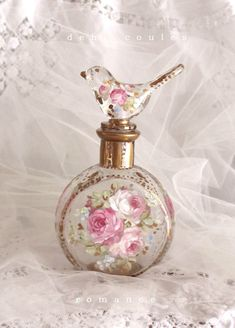 Shabby Romantic French Roses Bird Perfume Bottle - Debi Coules Romantic Art