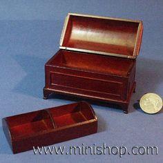 Domed Dollhouse Miniature Furniture Blanket Chest - Mahogany