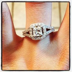 My engagement ring! Princess cut halo with split shanks ❤ my fiancé did good!