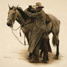 'Cowboys and Their Horses' by James Bama Cowgirl And Horse, Cowboy Art, Western Cowboy, Western Film, Real Cowboys, Cowboys And Indians, Cowboy Pictures, Cowboy Images, West Art