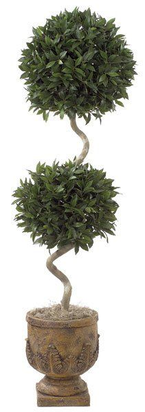 Artificial Trees, Artificial Palm Trees, Artificial Plants, Faux Flowers - 6' Bay Double Ball Curvey Trunk Faux Topiary
