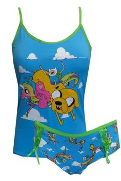 Adventure Time Gang Blue Cami Panty set, $35  Are you ready for adventure in the Land of Ooo? This cami/panty set for ladies features all your show favorites including Jake, Finn, Lady Rainicorn and Princess Bubblegum. Cami features a lace up back. The same lace up detailing appears as trim on the all over print panty. Junior cut. by bernadine