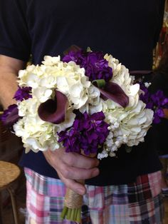 Bridal Bouquet of White Hydrangeas, Deep Purple Call Lilies and Deep Purple Stock and Babies Breath.