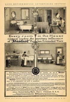 This Is An Original 1911 Black And White Print Ad For Plumbing Fixtures By Standard Sanitary
