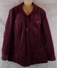 Croft & Barrow Womens Eggplant/purple Corduroy 6-Button Jacket Size 1X…