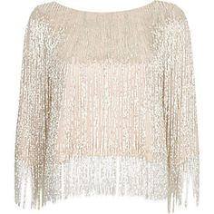 Pink bead embellished crop top