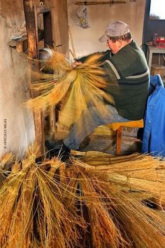 Traditional broom maker in Thrace