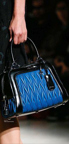 4e8ed8e0898 Miu Miu Spring 2015 ~ Leather Handbag, Blue, Black handles and trim Fashion  Handbags