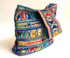 1970's Embroidered Tribal Burlap Purse. $15.00, via Etsy.