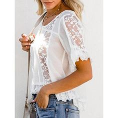 bd9c5702bbc8e White Summer Lace Sexy Chic Short Casual Blouses – judedress
