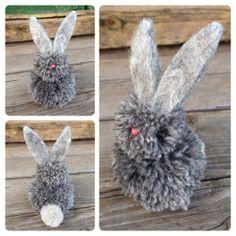 Easter bunny made of pom poms.