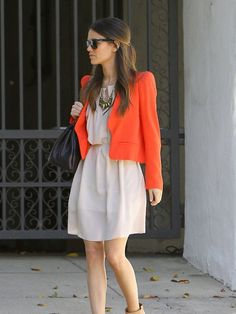 love this orange blazer nude dress sunglasses www.theshabbylabels.com