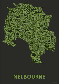 The Melbourne Poster | Citiposters  Beautiful typographic poster of Melbourne! Just what I've been looking for.