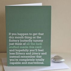'fluttery butterfly tummy' good luck card by the right lines | notonthehighstreet.com