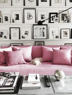 gallery ledges + pink sofa  #gallerywall