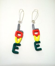 Love christmas earrings hanging polymer clay valentines by youfimo