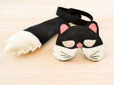 Black Cat Carnival Costume for Kids, Children Mask & Tail Set, Dress up Accessory, Boys and Girls, Toddlers and Babies