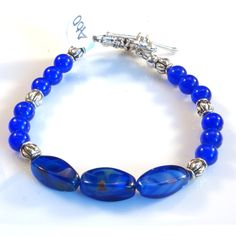 Women's Royal Blue and Silver Beaded Bracelet by DungleBees on Etsy