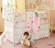 Lily Nursery Bedding - bright florals + polka dots // fresh-modern country | Pottery Barn Kids