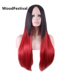 long straight hair wigs for black women heat resistant synthetic wig black red wig ombre black gray wigs hair 70 cm WoodFestival