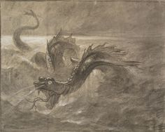 Arthur Quartley (American, b. France, 1839-1886) Sea Serpent, n.d. Charcoal and gouache on paper, 14-7/8 x 18-3/4 in. Gift of the Baker/Pisano Collection.  2001.9.202