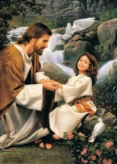 "Of Such is the Kingdom of God - Simon Dewey - LDS art - Jesus art - Christian art - ""Charity is the pure love of Christ, and it endureth forever; and whoso is found possessed of it at the last day, it shall be well with him. Images Du Christ, Pictures Of Jesus Christ, Simon Dewey, Image Jesus, Jesus E Maria, Lds Art, Saint Esprit, Jesus Art, Jesus Is Lord"