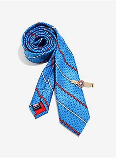 It won't take super soldier serum to up your office attire   Captain America Necktie and Tie Bar Set