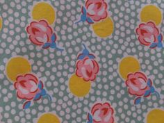 VINTAGE PINK ROSE FLORAL GREEN POLKADOT COTTON FABRIC  #Unbranded