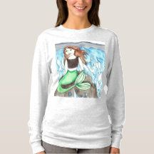 Shop Mermaid Emily and the waves T-Shirt created by fairychamber. Mermaid Artwork, Watercolor Mermaid, Mermaid Outfit, Mermaid Beach, Graphic Sweatshirt, T Shirt, The Little Mermaid, Wardrobe Staples, Fitness Models