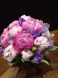 Peonie and sweet pea bouquet for a recent wedding