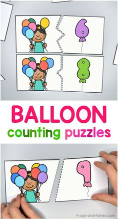 Kids will have fun practicing counting from 0-10 with these free balloon counting puzzles! This printable activity is low prep and includes 11 colorful two-piece puzzles! #counting #printablesforkids #freeprintables