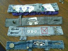 Wrist cuffs upcycled from vintage denim