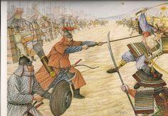Combat between Mongol and Japanese warriors