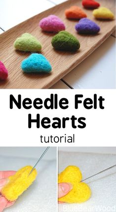 How To Make Needle Felt Hearts - perfect for Valentine Gifts Needle Felting Tutorials, Needle Felting Kits, Needle Felted Animals, Wool Felting, Felted Scarf, Nuno Felting, Felt Animals, Felt Crafts Diy, Felted Wool Crafts