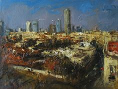 Oil on Canvas Original Signed Painting by Kim Tkatch Neve Tzedek Tel Aviv Israel View Unique Art Paintings For Sale, Original Paintings, Tel Aviv Israel, Painted Signs, Unique Art, Oil On Canvas, Modern Art, Fine Art, The Originals