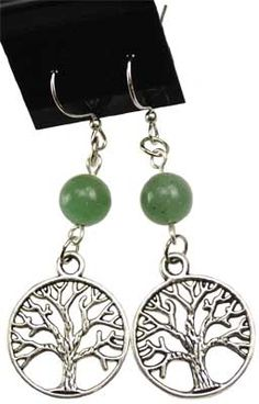 Green Aventurine Tree of Life Earrings [JETGAV] - $4.50 : Wicca, Pagan and Occult Practice Mega Store - www.thetarotoracle.com