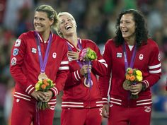 Christine Sinclair, Sophie Schmidt, and Melissa Tancredi - Canada women's soccer team
