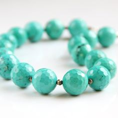 Faceted Turquoise Necklace - Sea Green, Pyrite, Chunky, Statement Necklace. $75.00, via Etsy.