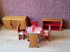 Vintage Doll House Furniture Dining Room Set by GuestFromThePast