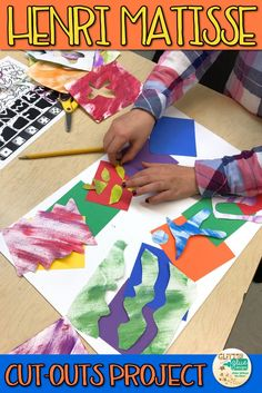 Looking for a new twist on a tired old Henri Matisse cut-outs project? Why not try painted paper collaging! We are so in love with how these turned out. Come see! | Glitter Meets Glue Designs  #art #painting #arthistory