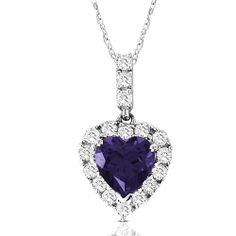 """10k White Gold Heart-Shaped Created Ceylon Sapphire and Round Created White Sapphire Heart Pendant Necklace, 18"""" Amazon Curated Collection. $129.99. Gemstones may have been treated to improve their appearance or durability and may require special care.. Save 64% Off!"""