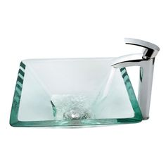 @Overstock - Kraus Aquamarine Clear Glass Sink and Visio Faucet - Instantly update your home with this tempered-glass vessel sink and waterfall faucet. This above-counter sink features a thick tempered-glass construction. The solid brass faucet and pop-up drain illustrates this sinks fine craftsmanship.    http://www.overstock.com/Home-Garden/Kraus-Aquamarine-Clear-Glass-Sink-and-Visio-Faucet/4486214/product.html?CID=214117  $249.95