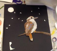Night time Kookaburra - letter K Sand Crafts, Rock Crafts, Arts And Crafts, Australian Animals, Australian Art, Aboriginal Art For Kids, Australia Crafts, 3rd Grade Art, Crafts For Girls