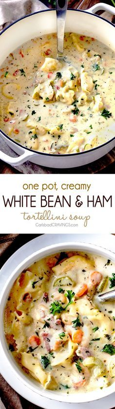 One-pot Creamy White Bean and Ham Tortellini Soup simmered with onions, carrots, celery and seasonings.