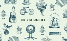 Logotype and illustration designed by Perky Bros for small-batch coffee roaster and café No. Six Depot