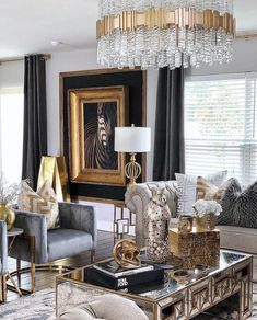 The way you decorate your home is somehow similar to choosing beautiful clothes to wear on a daily basis. An impressive interior decoration of your home or office is essential for your own state of mind, if nothing else. Glam Living Room, Formal Living Rooms, Living Room Lighting, Home And Living, Living Room Decor, Dining Rooms, Black And Gold Living Room, Interior Decorating, Interior Design