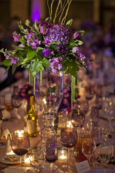 centerpieces, purple and green (Suzanne Lanfranco, florist)